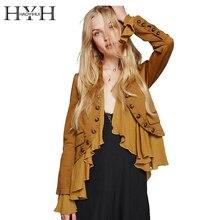 HYH haoyihui Для женщин куртка желтый романтические оборочки с длинным рукавом Курточка бомбер уличной элегантный Повседневное кардиганы; верхняя одежда