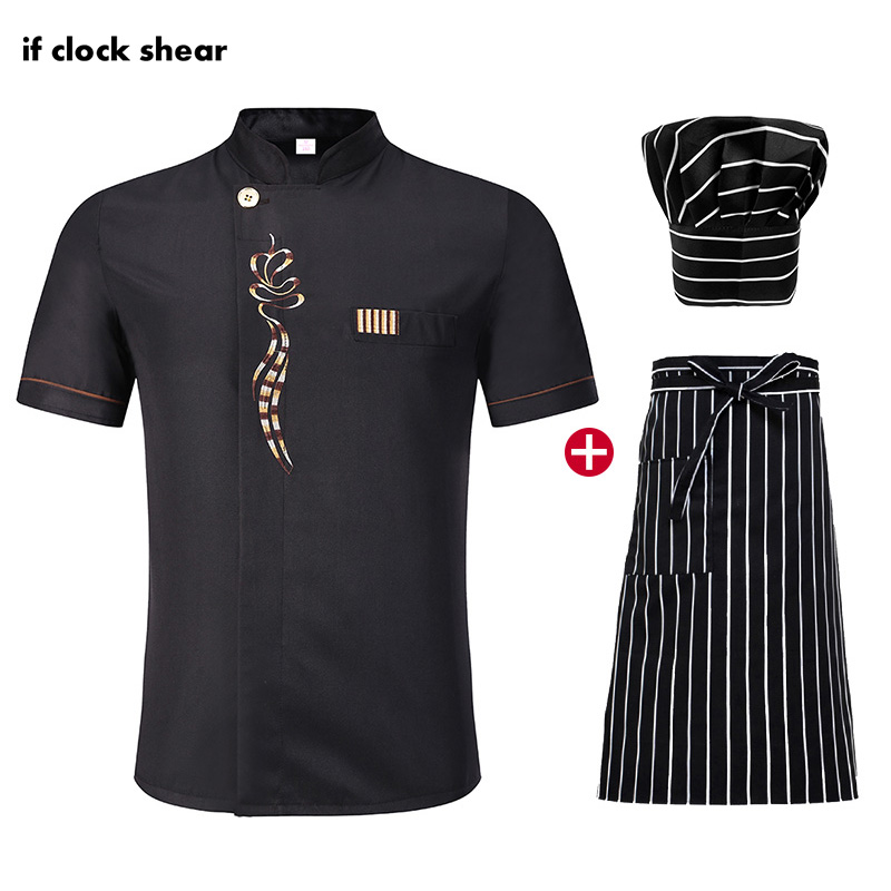 Hotel Kitchen Chef Clothes Short Sleeved Chef Restaurant Uniforms Cooking Jacket+Hat+Apron Unisex Cooker Shirt Work Clothes Men