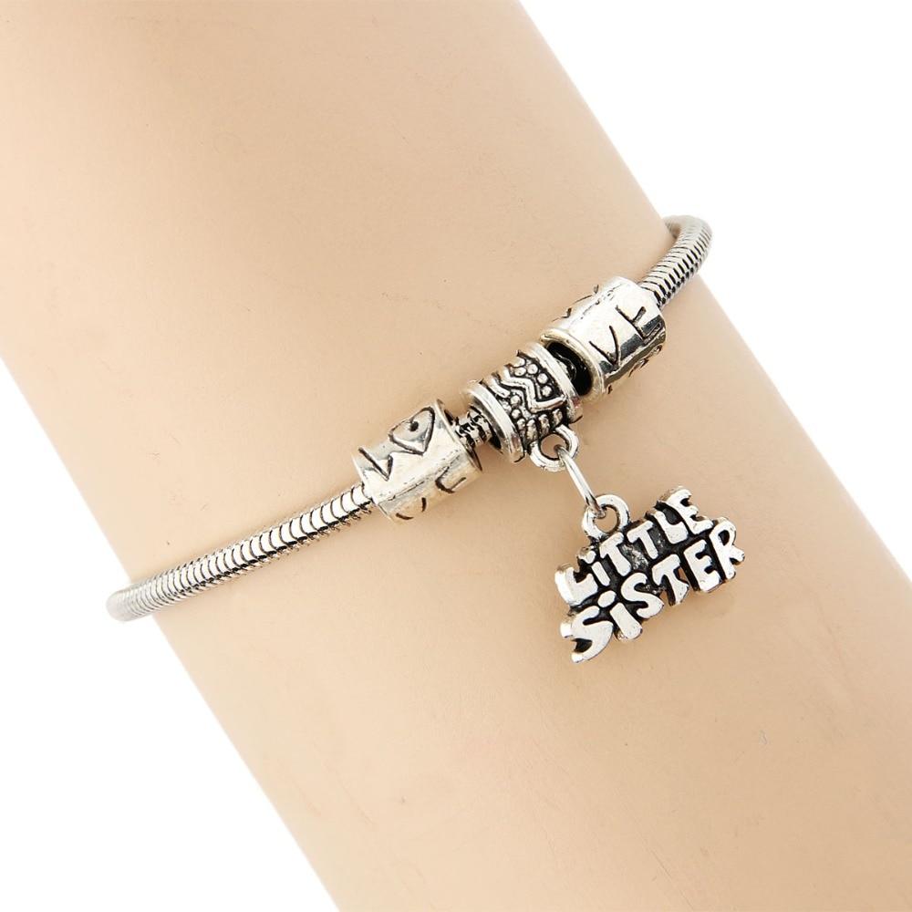 Fashion Lovely Litter Sister Sis Alphabet Bracelet Family Women Girl Gift Bangles Silver Plated Statement Jewelry Bracelets