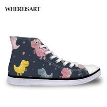 WHEREISART Trendy Female Designer Sneakers Animals Pattern Canvas Shoes Girls Dinosaur Printing Classic Vulcanize Shoes Women
