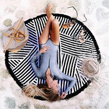 Black White Microfiber Round Beach Bath Towels Tassel Geometric Print Summer Women Swimming Sunbath Blanket Covers Up