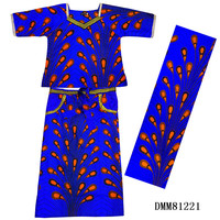 African Big size dress for woman african print dresses 2 pieces set top+skirt 100%wax print cotton african clothes