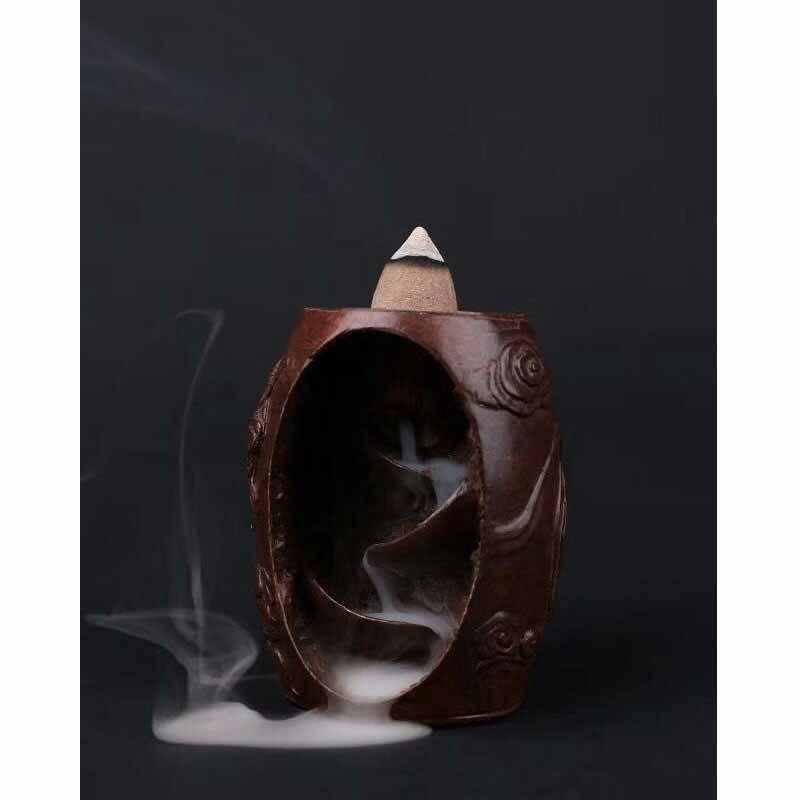 Brûleur d'encens à reflux créatif laiton montagne rivière cascade fumée brûleur d'encens artisanat encensoir maison bureau décoration