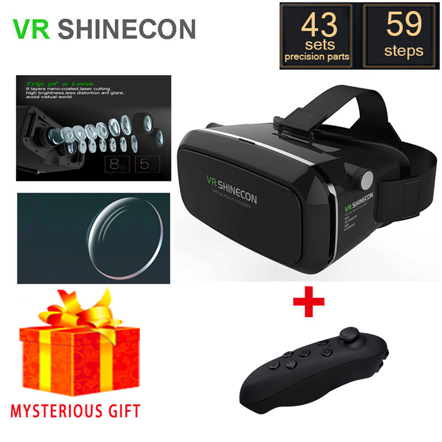VR Shinecon Box Vrbox Casque Video 3 D Gerceklik Google Cardboard Virtual Reality Goggles 3D Glasses Smartphone Helmet Headset