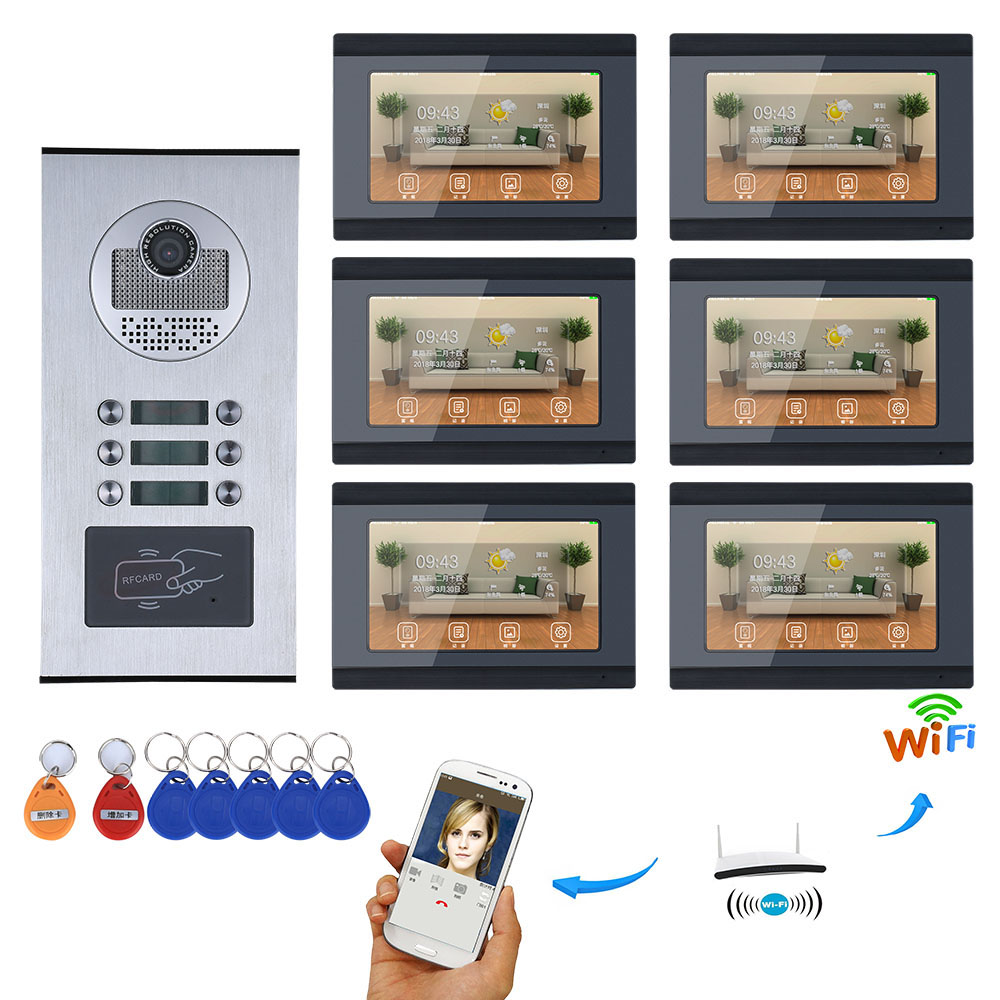 7inch Record Wired Wifi 3 4 5 6 Apartment Family Video Door Phone Intercom System RFID