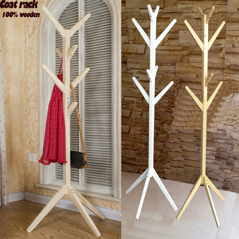 NEW! European style coatrack 100% wooden tree fork coat racks stand,8 hooks,wooden living room furniture,Home Furnishing Decor вешалка coatrack 20х70х28