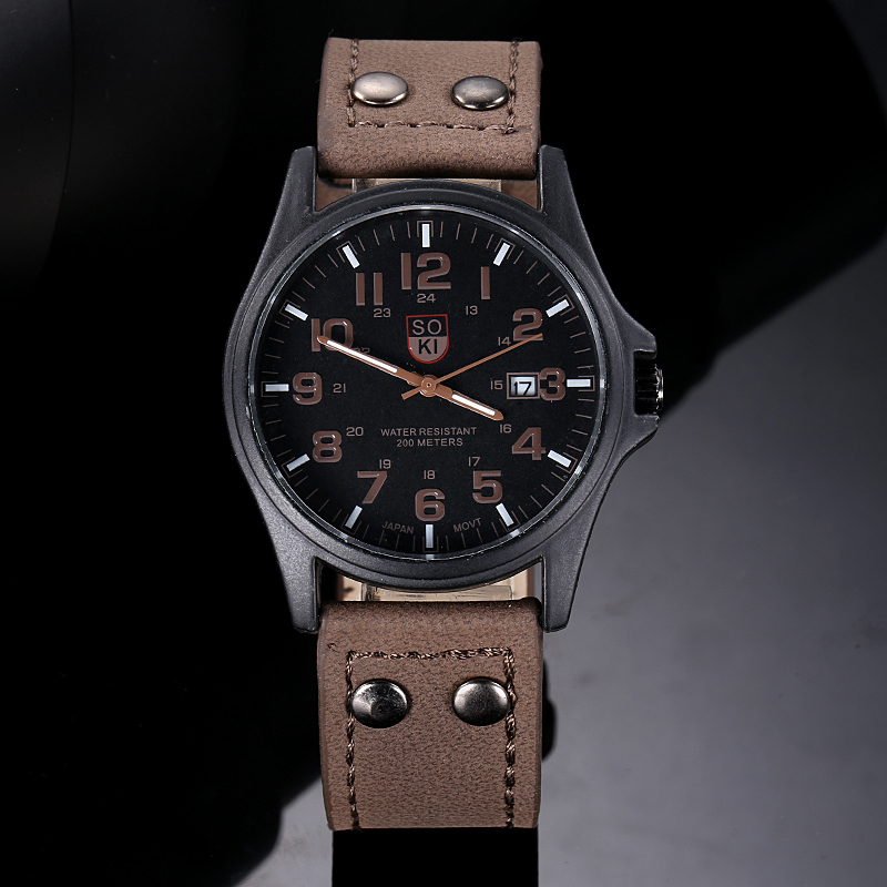 2017 SOKI Top Brand Luxury Vintage Classic Clock Men s Waterproof Date Leather Strap Sport Quartz