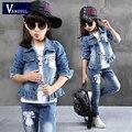2016 хлопок джинсовые джинсы новый мультфильм кружева девушка набор девочек детская одежда весной и осенью дети установить три набора