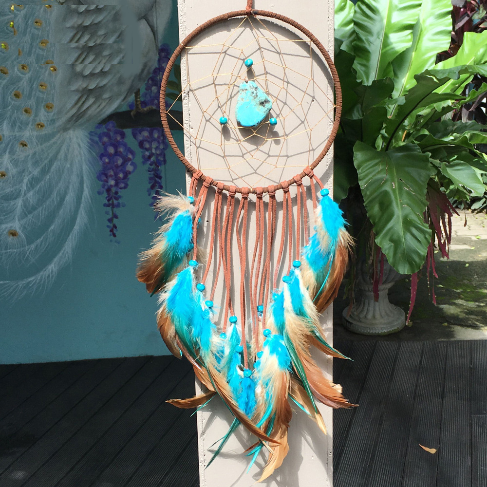 Vintage Enchanted Forest Indian Turquoise Dreamcatcher Handmade Dream Catcher Net With Feathers Decoration Ornament Amor6017