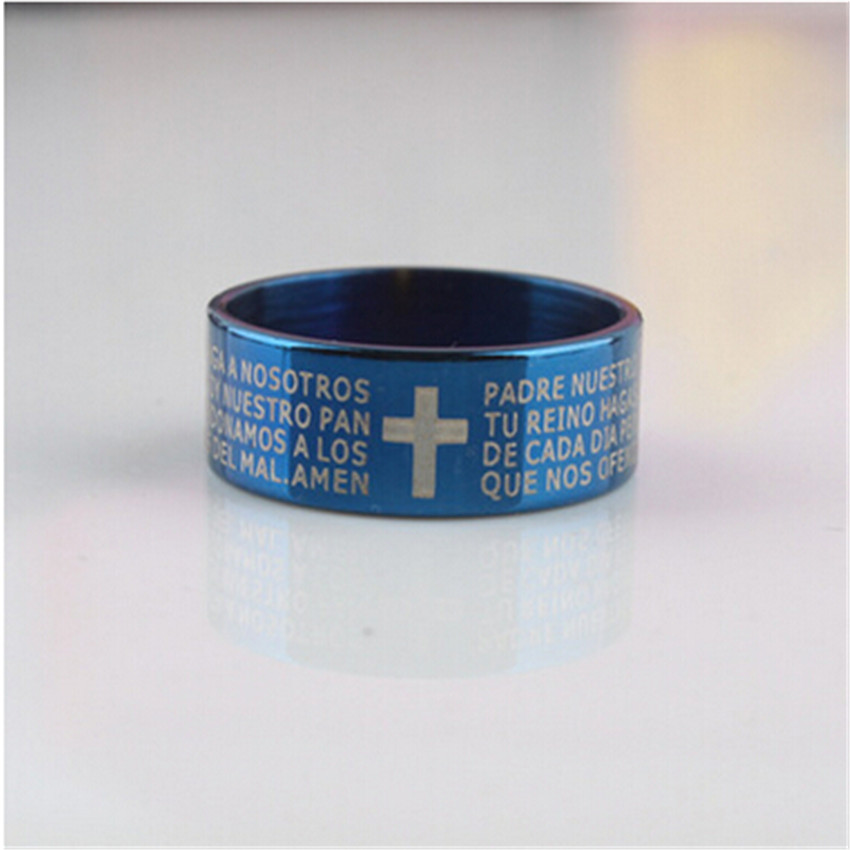2017 new fashion punk jewelry men stainless steel bible lords Prayer silver Cross Ring Finger Rings for men xmas gift