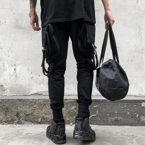 Image 5 - Gli uomini di personalità punk hiphop harem pantaloni cantante di nightclub costume di scena pantaloni da uomo hip hop nastri cargo jogging streetwear