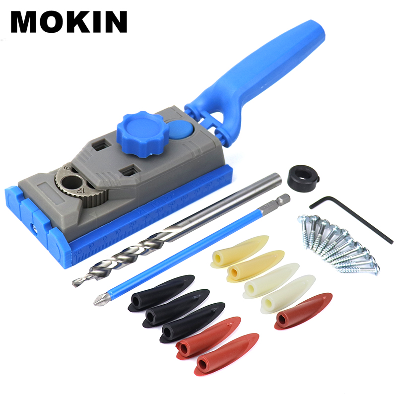 Wood Doweling Jig Kit Pocket Hole Jig 6 8 10 12mm Drill Guide With Screws For Hole Puncher Carpentry Woodworking Tools in Drill Bits from Tools