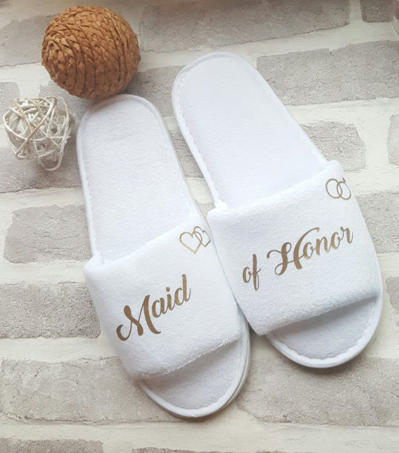 ac96852b6365 custom title names wedding bridesmaid bride spa slippers Matron of honor  Flower Girl night Bachelorette party favors gifts-in Party Favors from Home  ...