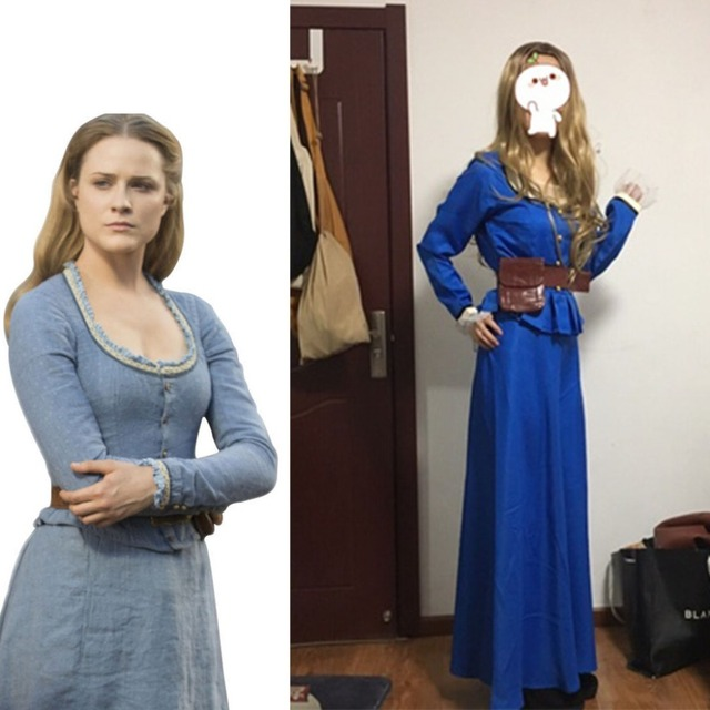 16092ecc28 Cosplaydiy Custom Made Westworld Cosplay Costume Dolores Abernathy Evan  Rachel Wood Blue Dress Halloween Costume L320