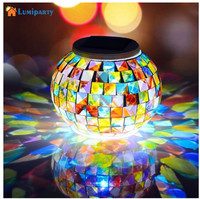 Lumiparty Solar Powered Mosaic Glass Ball LED Garden Light Color Changing Solar Table Lamps Waterproof Outdoor Decorations