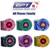 60шт EPT керамический фишки для покера European Poker Tour Poker Chips покерный набор Отличное качество покер набор - Доступен для выбора деноминации / 500шт=8 ...