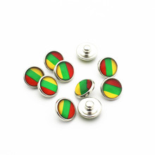Hot selling 20pcs/lot 12mm Glass Lithuania national flag Snap Buttons Fit  DIY Bracelet Button Charms Jewelry
