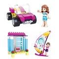 Kazi ciudad amigos serie chica de verano playa del traje de baño niña princesa niños de bloques juguetes de vela del coche del vehículo compatible con legoe