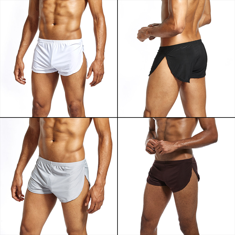 Men Boxer Shorts Low Waist Breathable Casual Cool Solid Color Gift For Boyfriend Sport XRQ88