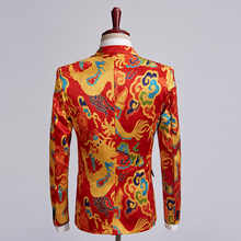 PYJTRL Brand New Chinese Style Red Dragon Print Suit Men Stage Singer Wear 2 Pieces Set Slim Fit Wedding Tuxedo Costume Homme