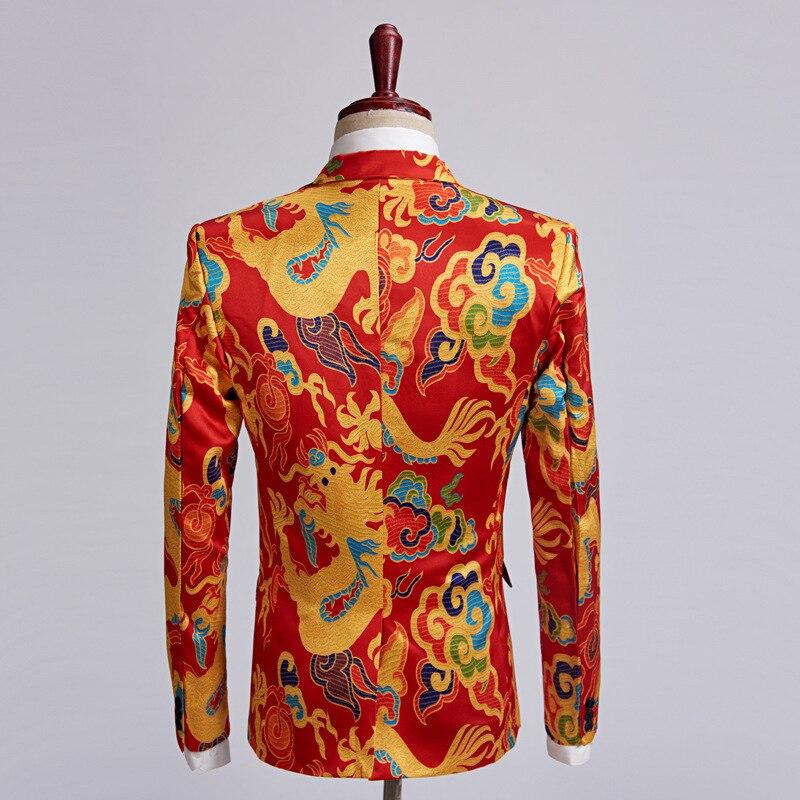 Erkek Kıyafeti'ten T. Elbise'de PYJTRL marka yeni çin tarzı kırmızı ejderha baskı takım elbise erkekler sahne şarkıcı giyim 2 parça Set Slim Fit düğün smokin kostüm Homme'da  Grup 2