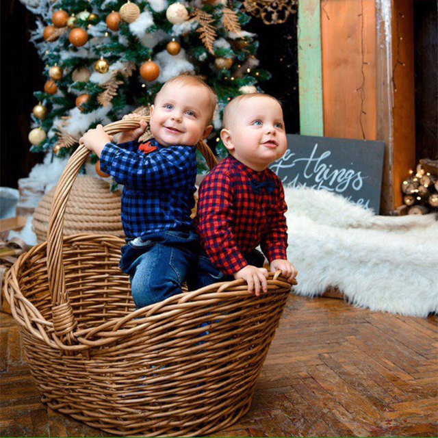 Plaid Romper and Jeans Set for Baby Boys