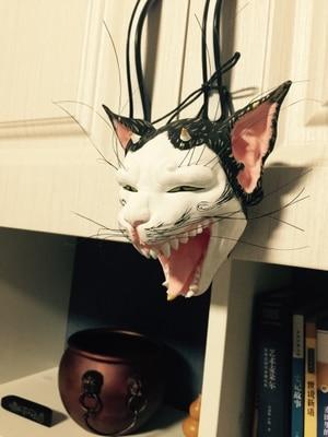 Máscara de demonio de gato Original estatuilla bouddha tallado madera de color pesado colgante de pared estatuas demoniacales para Decoración-in Estatuas y esculturas from Hogar y Mascotas on AliExpress - 11.11_Double 11_Singles' Day 1