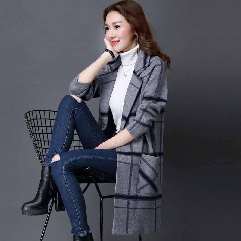 M-3XL 한국 코트 여성 봄 가을 니트 스웨터 플러스 사이즈 카디건 여성 겨울 자켓 느슨한 큰 야드 긴 스웨터 코트