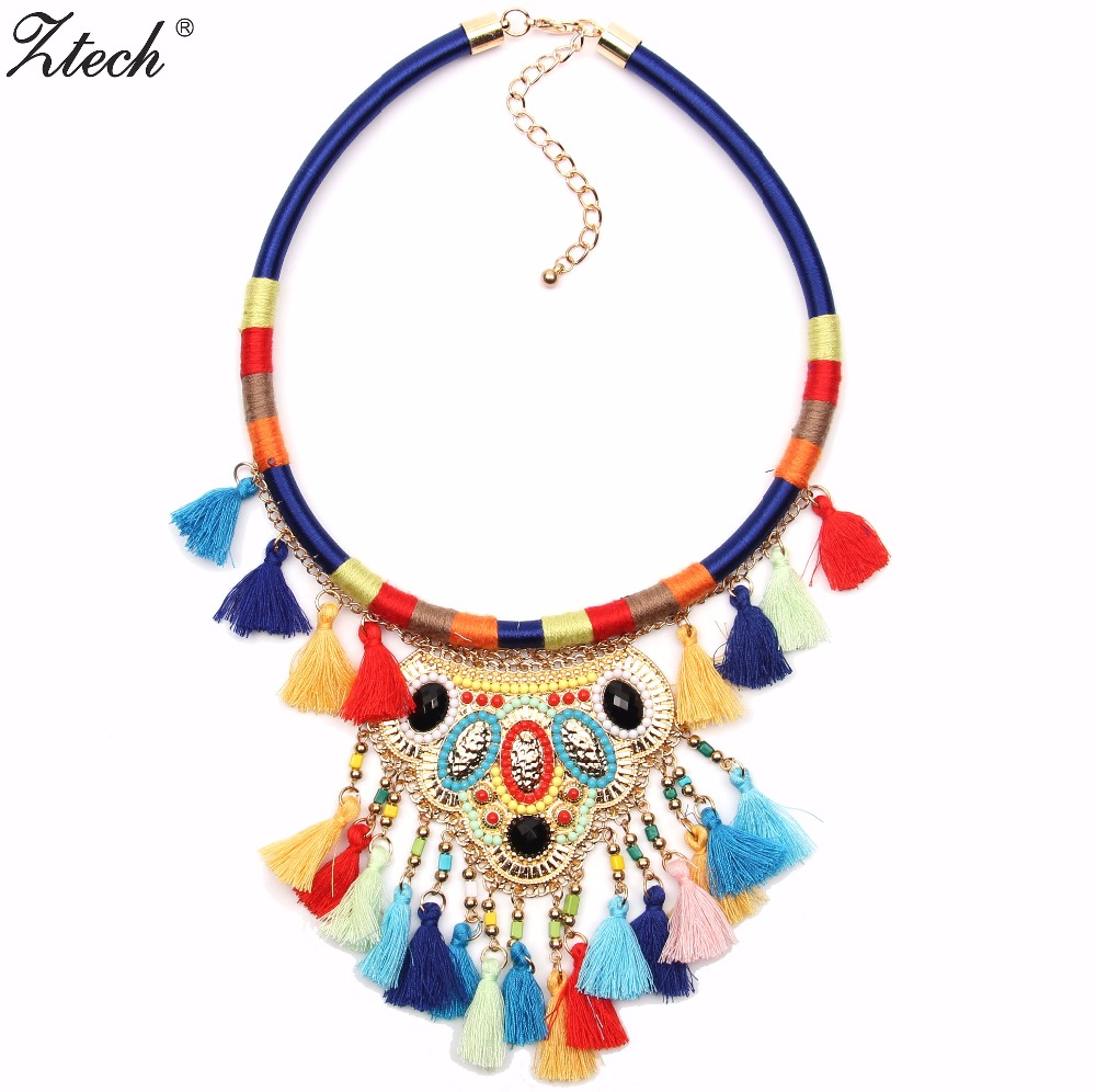 Ztech New women bohemian necklaces & pendants multicolor statement flower choker necklace tribal ethnic boho jewelry For Women
