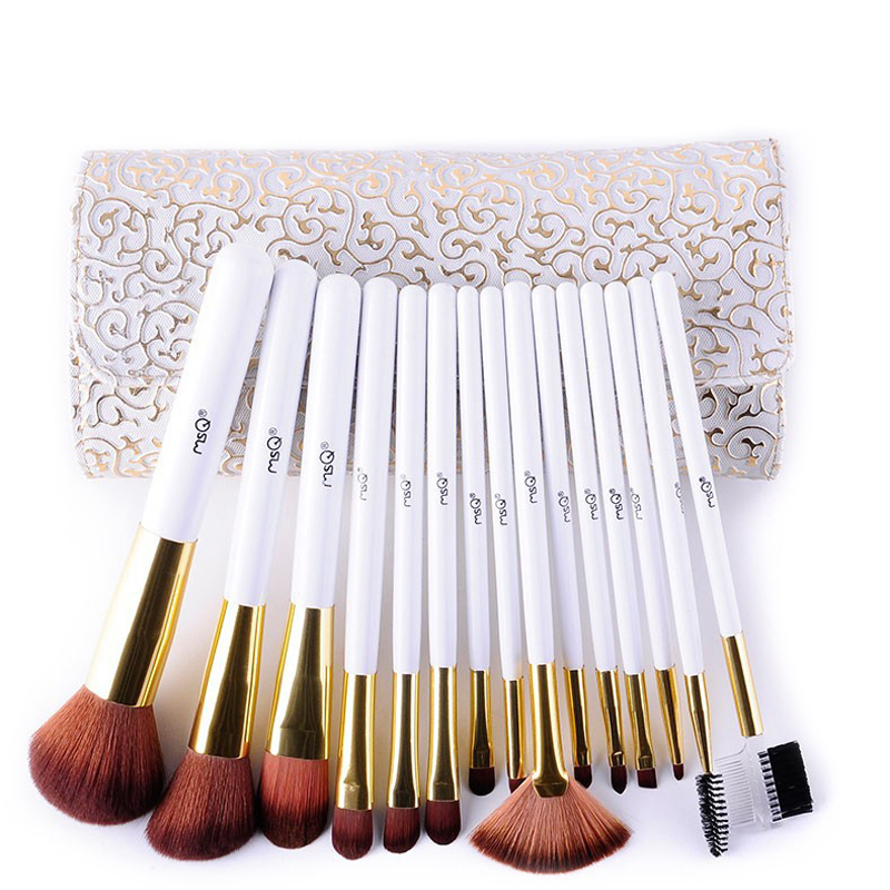 MSQ Fashion 15pcs Makeup Brushes Set Powder Foundation Eye Make Up Brush White handle Cosmetic Beauty Tool + PU Leather Case professional 15pcs set facial makeup brushes set eyeshadow eye make up brush beauty blush powder foundation cosmetic brush tool