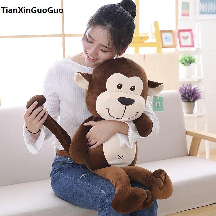 Joli singe en peluche grand 60 cm coton brun singe doux poupée jeter oreiller cadeau d'anniversaire h0707