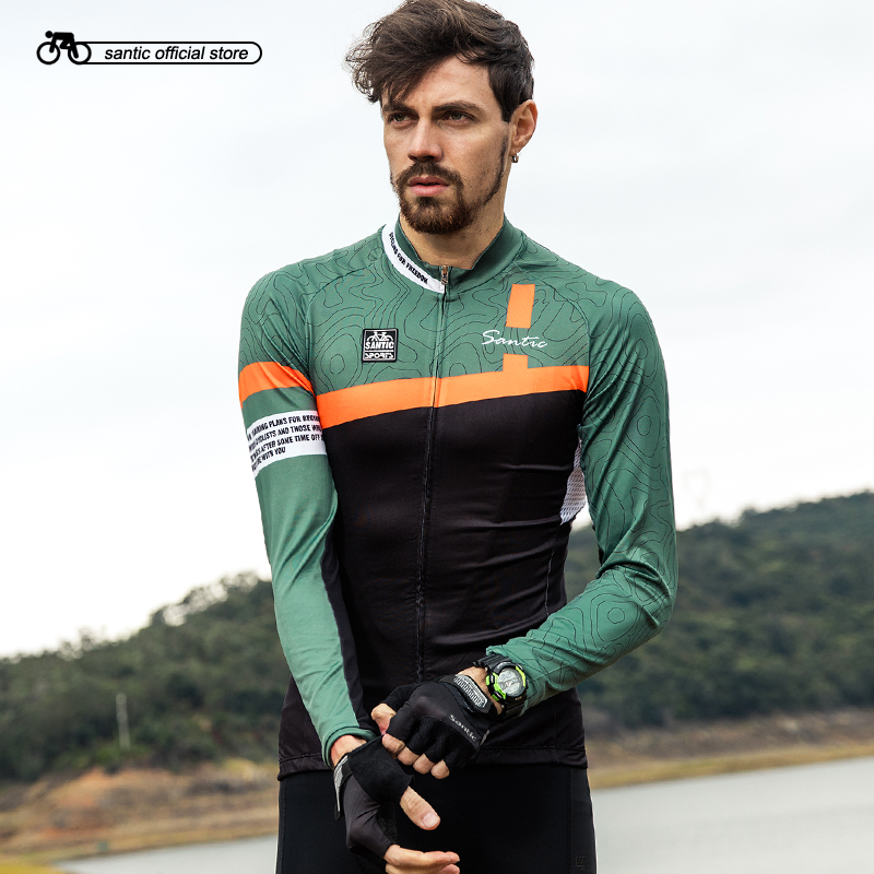 Santic Men Long Sleeve Cycling Jerseys Pro Fit Road Bike MTB Top Jersey Spring Summer Breathable Bike Jerseys Asian S-4XL C01090