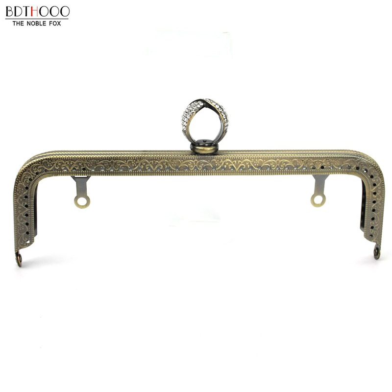 BDTHOOO 20.5cm Metal DIY Kiss Clasp Coins Purse Frame Handle For Clutch Bag Accessories Copper Clasp Lock Bags Hardware
