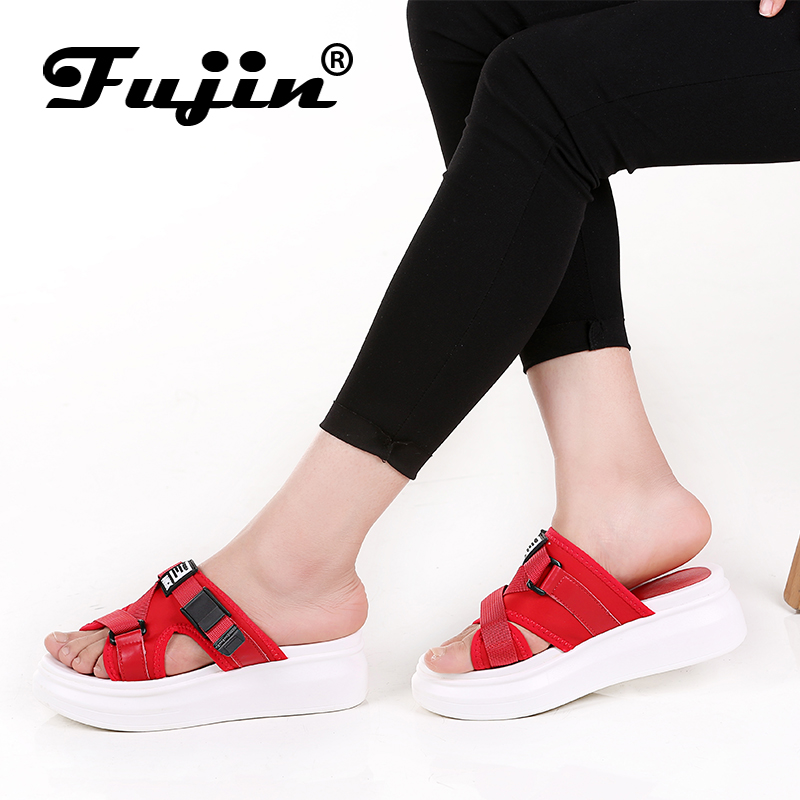 2018 Fujin Summer Platform Slippers Women Lycra Sandals Fashion Brand Outdoors Slippers Shoes New Female Casual Wedges Shoes new women sandals low heel wedges summer casual single shoes woman sandal fashion soft sandals free shipping