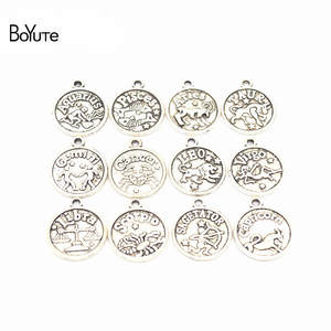 Boyute Zodiac Charms Jewelry-Accessories Sign Pendant Diy Hand-Made 12pieces/Set Metal-Alloy