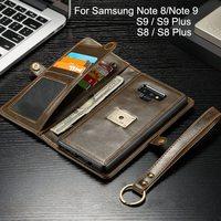 2 в 1 Магнитный карман съемный чехол с откидывающейся крышкой для samsung Galaxy S8 S9 S10 плюс Чехол кожаный бумажник класса люкс для samsung Note 9 8