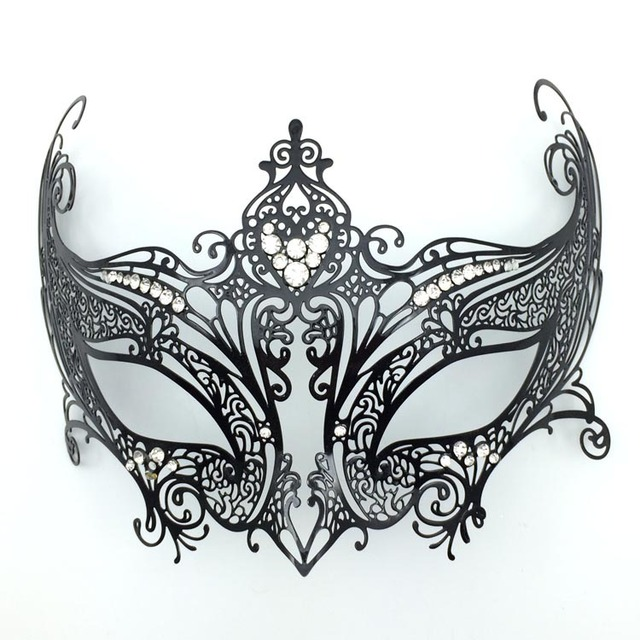 Luxury Diamond Black Metal Mask Carnival Laser Cut