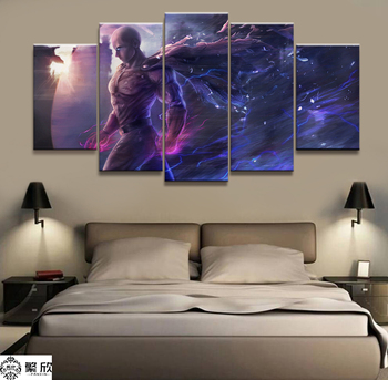 Home Decor Modular Canvas Picture 5 Piece ONE PUNCH-MAN Animation Art Painting Poster Wall For Home Canvas Painting Wholesale