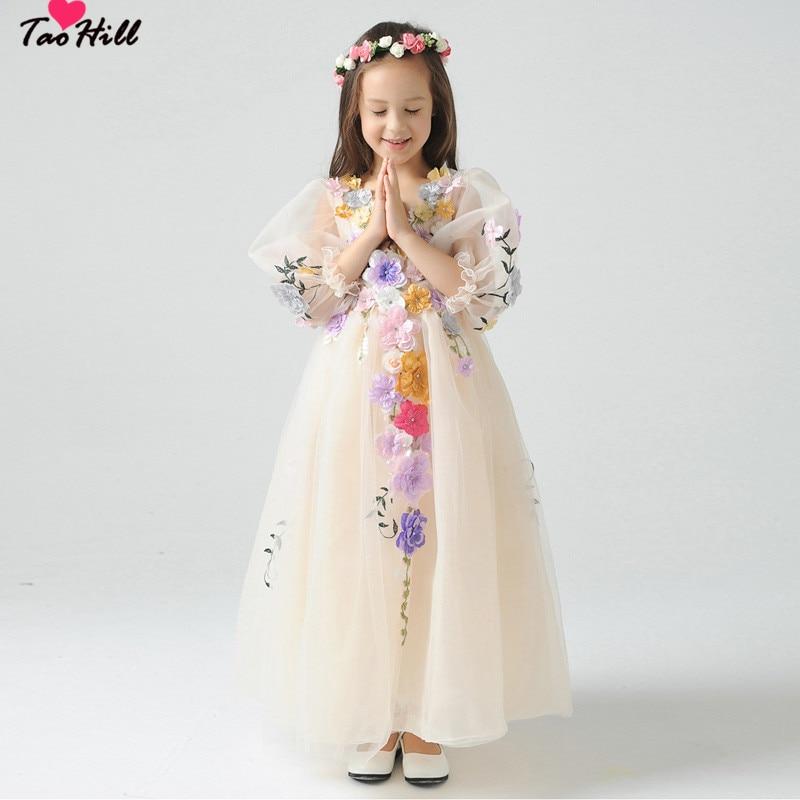 TaoHill Vintage   Flower     Girl     Dresses   A-line Ankle Length Half Sleeves V-neck Colorful Handmade Cute   Flowers     Girl     Dress   Gown