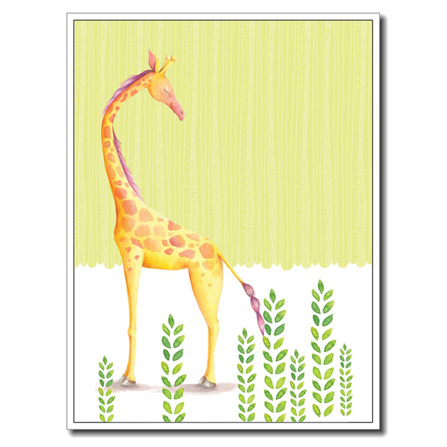 Kawaii Cute Giraffe Poster Print Modern Nordic Cartoon Nursery Wall ...