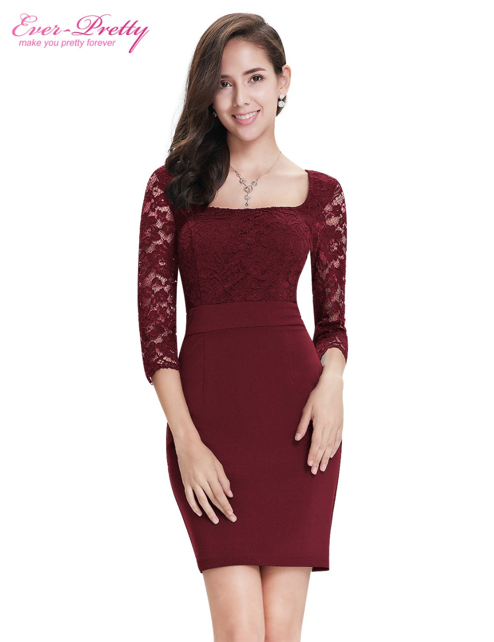 Burgundy Long Sleeve Cocktail Dress