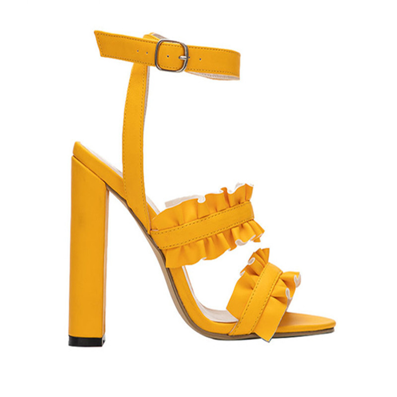 e4239418a24 US $18.99 30% OFF|Women high heels sandals gladiator summer ruffle ankle  strap open toe ladies shoes sexy yellow block heels sandals zapatos  mujer-in ...