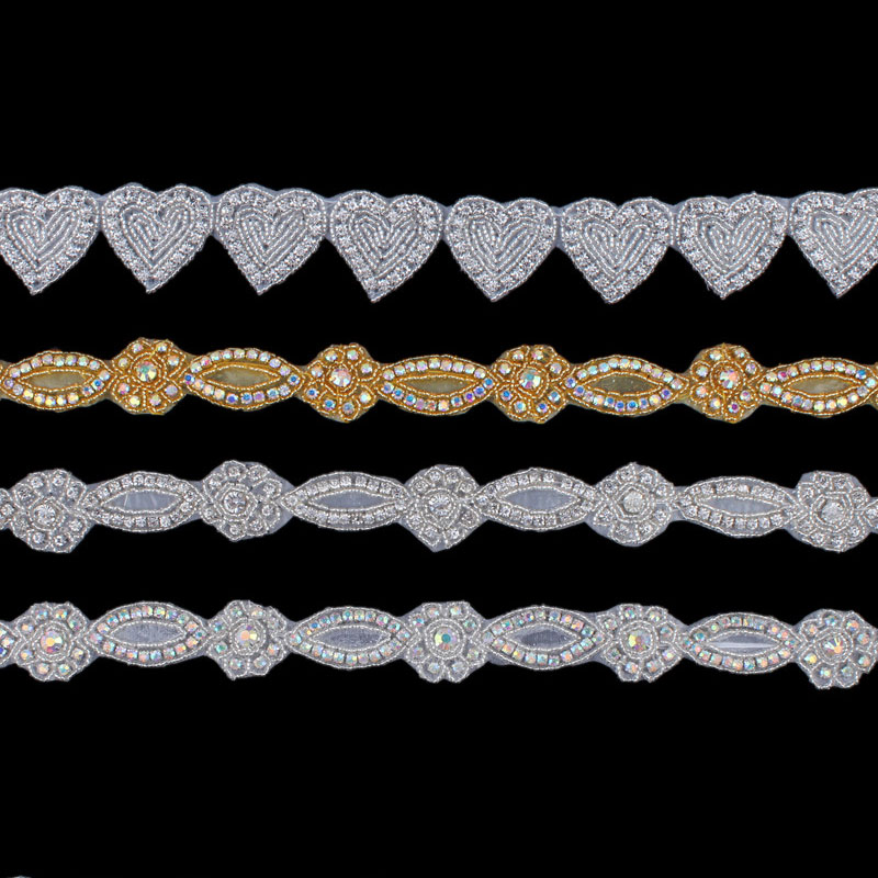 1Yard/Lot Handmade Bling Sew On Beaded Crystal Rhinestone Applique Trim for Wedding Dresses Baby Girl Hair Accessories Supply