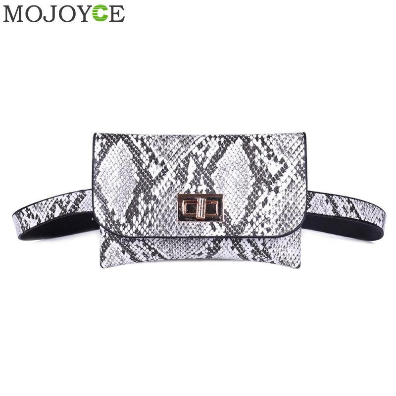 Fashion Snake Print Small Shoulder Messenger Handbags Women Waist Fanny Belt Packs PU Leather Crossbody Chest Bags Phone Money P