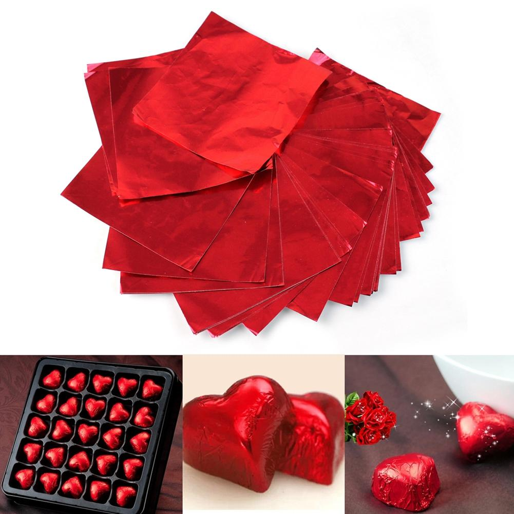 200pcs/Lot Red Square Sweets Chocolate Lolly Candy Package Foil Wrappers Wrapping Paper Sheets Wedding Bridal Gift 8 X 8 Cm