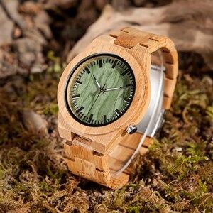 Image 3 - BOBO oiseau V B22 Original bambou montre pour homme classique pliant fermoir Quartz mouvement montre bracelet erkek kol saati