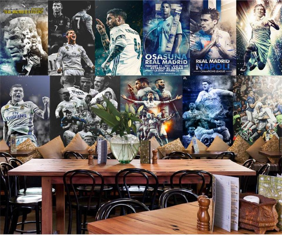 custom 3d photo wallpaper mural living room Real Madrid Football star Photo sofa KTV Gym background wall non-woven wall sticker 3d photo wallpaper custom room mural non woven sticker retro style bookcase bookshelf painting sofa tv background wall wallpaper