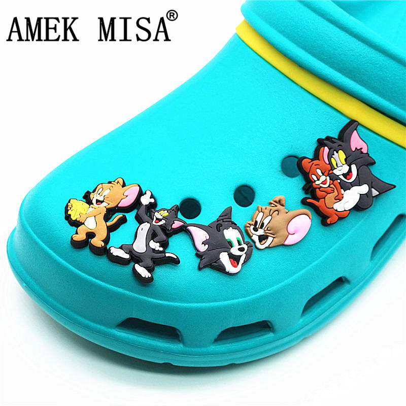 5 Pcs/Set PVC Cartoon Shoe Decorations Tom And Jerry Garden Shoe Croc Charm Accessories For JIBZ/ Wristbands Kids Party Xmas