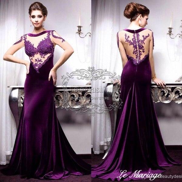 2017 Vestido De Fiesta Violet Lace Appliques See Through Full Long ...