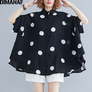 Image 3 - DIMANAF حجم كبير بلوزة المرأة قميص كبير الحجم الصيف سيدة عادية القمم تونك طباعة البولكا نقطة فضفاضة الإناث الملابس Batwing كم